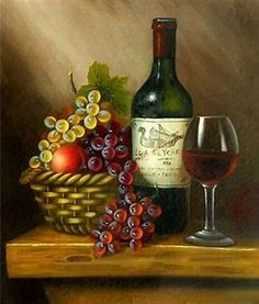Still Life Oil Painting - - ATLAND (China Manufacturer) - Products Cuadros Pintura, Pintura De Wine Painting, Fruit Painting, Acrylic Painting Canvas, Still Life Drawing, Still Life Oil Painting, Wine Photography, Still Life Fruit, Digital Painting Tutorials, Wine Art