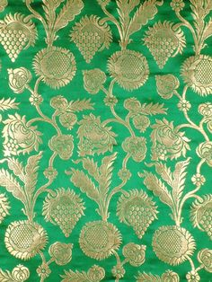 Fabric Designs Indian Green Floral Brocade Silk Fabric with Golden Thread. - From the Fabrics collection in our Textiles category, this is Green Floral Brocade Fabric with Golden Thread Weave by Hand. Indian Patterns, Textile Patterns, Motif Floral, Floral Fabric, Indian Fabric, Brocade Fabric, China Patterns, Vintage Embroidery, Hanging Wall Art