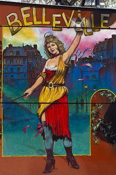 Boulevard de Belleville, Paris X.  A painting on the side of a merry-go-round kiosk on the south side of boulevard de Belleville, across from Le Président restaurant. Cette photographie, à: http://davidphenry.com/Paris/paris280_fr.htm, est © 2013, David Henry, tous droits réservés.