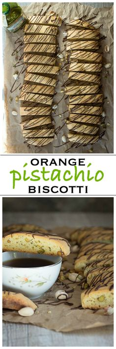 Orange Pistachio Biscotti Cookies with a dark chocolate drizzle | Foodness Gracious