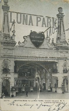 Image detail for -picturing the entrance to Luna Park amusement park, Coney Island . Coney Island Amusement Park, Amusement Park Rides, Natural Swimming Ponds, New York Photography, Vintage New York, Vintage Photographs, Cool Places To Visit, Old Photos, New York City