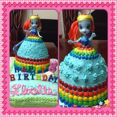 Equestria Girl Rainbow Dash doll cake