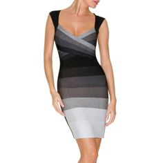 bandage dress | Slim fitted black2white bandage dress - MONTERICHE