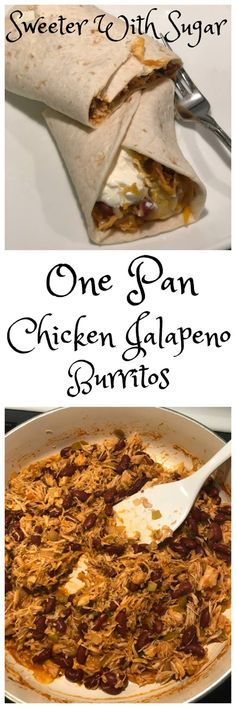 One Pan Chicken Jalapeño Burritos - 2019 nya recept Quick Healthy Breakfast, Eat Breakfast, Breakfast Recipes, Easy Whole 30 Recipes, Fast Dinner Recipes, Mexican Entrees, Mexican Food Recipes, Crockpot Recipes, Chicken Recipes