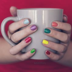 """""""Haven't done a #mugmani in ages! Most of the polishes are @nyc_new_york_color with a @nailsinc and a @essiepolish thrown in there """""""