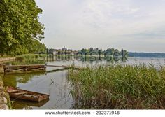 One corner of the Lake of Pusiano, in the locality of Bosisio Parini, province of Como Lombardy Italy, July 2014 - stock photo
