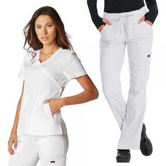 Koi Lite Philosophy Set in White. The Koi Lite Philosophy Set consists of the Philosophy Top paired with the Peace Trousers. This set is lightweight, moisture wicking, wrinkle free and stretchy. White Scrubs, Koi Scrubs, Medical Uniforms, Womens Scrubs, Medical Scrubs, Perfect Fit, Trousers, Stylish, How To Wear