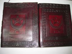Moon & Star Emboss Book of Shadow Leather Diary Journal Notebook -Wicca Pagan