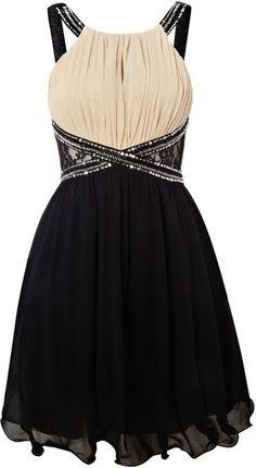 little mistress black mesh side halter neck dress
