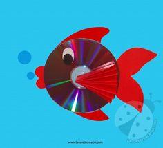 LAVORETTO CON CD Che ne pensate di realizzare pesciolino con il CD e la carta colorata? Il materiale che occorre è veramente poco e i vostri bambini si pos