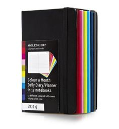 """Moleskine 2014 """"Color a Month"""" Daily Planner Box Set, 12 Month, Pocket, Multicolor, Soft Cover (3.5 x 5.5) (Planners..."""