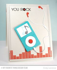 Keep on Rockin', MP3 Player Die-namics, Inside and Out Diagonal Stitched Rectangle STAX Die-namics, Equalizer Stencil - Cindy Lawrence #mftstamps