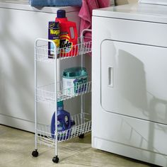 Laundry Room Slim Rolling Cart Wire Metal Storage Baskets Wheels White #Unbranded