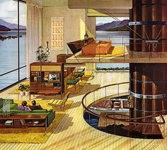 "In the 1960s, Motorola commissioned a series of ads illustrated by the late Charles Schridde with a running theme of the ""house of the future"". These futuristic paintings are amazingly detailed. Viewed from an architecture / interior design angle, they really give an insight to the American imagination of that period. Swanky bachelor pads, spiral staircases, indoor scuba diving pools – you name it. Schridde's vision of the future plays out like a romanticized, more realistic version of The…"