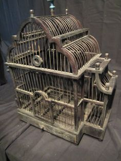 Antique Handmade Balinese Wooden Bird Cage with Oriental Curvature and Domes