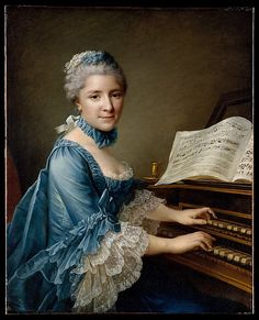 Madame Charles Simon Favart (Marie Justine Benoîte Duronceray, 1727–1772) François Hubert Drouais  (French, Paris 1727–1775 Paris), 1757. Marie First appeared on the Paris stage at the foire Saint-Germain in 1744 or 1745, and thereafter married Charles Simon Favart (1710–1792), writer, librettist, & director of the Opéra Comique & the Comédie Italienne. From 1751 until 1769 Madame Favart reigned supreme in Paris as a comic actress. She was also a singer & dancer and played  harp…