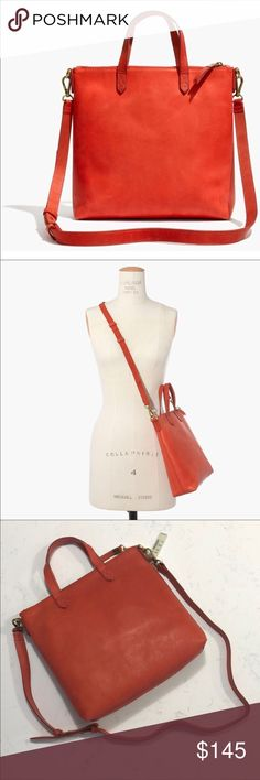 Madewell Mini Transport in Tiger Lily Reposh. Need larger bag. New with Tags. Beautiful. Unused. Madewell Bags Crossbody Bags