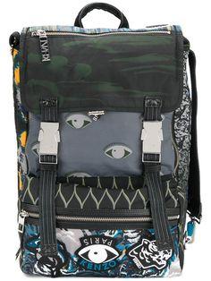 KENZO KENZO - MULTI ICON BACKPACK . #kenzo #bags #leather #polyester #backpacks #