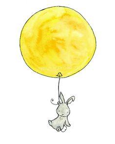 Bunny Balloon  lemon yellow and grey 8x10 by trafalgarssquare, $20.00