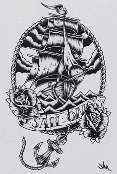ship tattoo outline | Pirate Ship Tattoo Designs