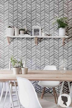 Self Adhesive Herringbone Pattern Removable Wallpaper D197 - lots of cool wallpaper patterns from this vendor