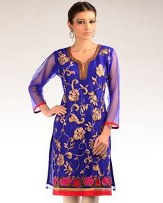 Royal Blue Kurta with Multicolored Embroidery - Exclusively In