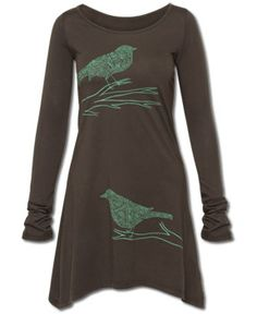 Soul Flower - Jazzy Birds Long Sleeve Tunic Top - $42.00. Made with organic cotton. http://www.soul-flower.com/hippie/SOL341/NEW%21+Jazzy+Birds+Long+Sleeve+Tunic+Top.html