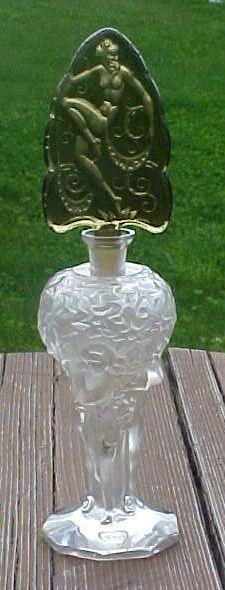 Exceedingly RARE Czech Art Deco Nude Intaglio Perfume Bottle Spectacular Ingrid