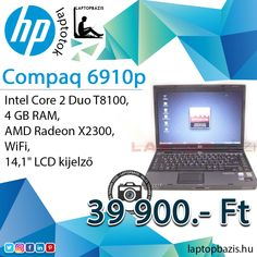 "HP Compaq 6910p laptop, Intel Core 2 Duo T8100, 4 GB RAM, AMD Radeon X2300, WiFi, 14,1"" LCD kijelző Ár: 39 900.- Ft"