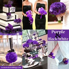 Black, White and Purple Wedding Colors