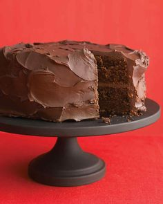 Dark-Chocolate Cake with Ganache Frosting | Martha Stewart Living - This dense cake offers graduation party guests an intense chocolate experience, complete with fudgy frosting.
