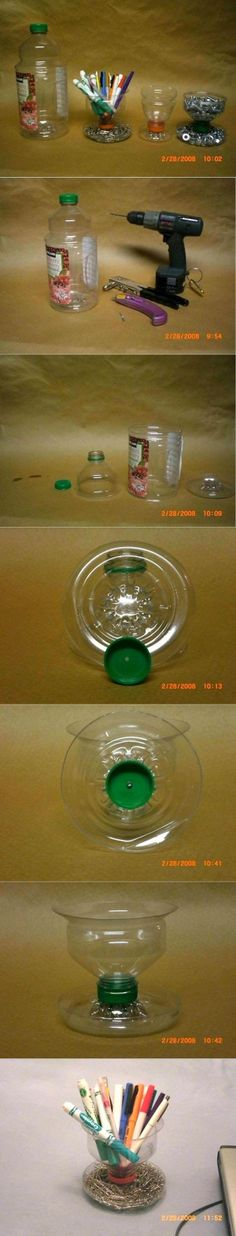 Neat idea for recycling a plastic bottle. Plastic bottle changed into a desk organizer.