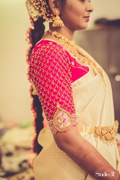 Bridal blouses - Blouses are the heart of your wedding attire, so here's a board completely dedicated to wedding s - Wedding Saree Blouse Designs, Designer Blouse Patterns, Half Saree Designs, Fancy Blouse Designs, Silk Saree Blouse Designs, Wedding Sarees, Hand Work Blouse Design, Stylish Blouse Design, Traditional Blouse Designs