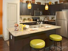 Small Space Saturday: Store seldom-used items on top of your cabinets & refrigerator to get them off the counters. http://apt.gd/1iV1Sov | Featured Community: 1377 Apartments in #Atlanta, GA » http://apt.gd/1h0tvXl #kitchen #smallspaces