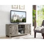 58 in. Barn Door TV Stand with Side Doors - Grey Wash