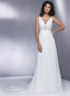Alluring Straps V-Neck Sheath / Column Beads Working Empire Wasit Court Train Chiffon Satin Beach Wedding Dress for Brides