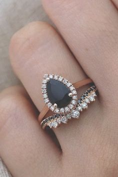 24 Unique Black Diamond Engagement Rings ❤️ black diamond engagement rings p… – Wedding ideas Black Wedding Rings, Wedding Rings For Women, Diamond Wedding Rings, Diamond Rings, Ruby Wedding, Dream Wedding, Sapphire Rings, Diamond Bracelets, Wedding Night