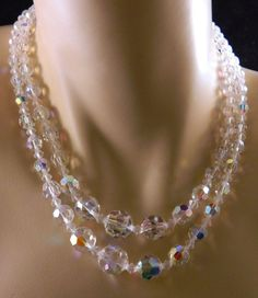 Vintage Faceted Crystal Aurora Borealis Beaded Double Strand Choker Necklace #StrandString