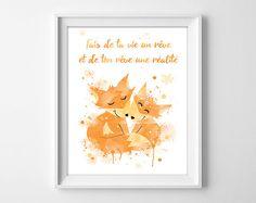 Couple de renard illustration chambre bébé / enfant : Affiches, illustrations, posters par nissapix