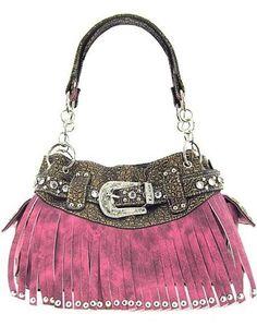 Rhinestone Buckle Fringe Soft Faux Leather Satchel Handbag #Unbranded #Satchel