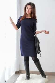 Granatowa, pikowana luźna sukienka