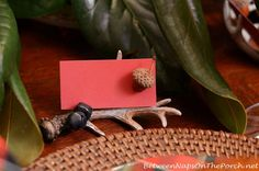 Antler Placecard Holder for Table Setting made from Wal-Mart ornaments by Between Naps on the Porch