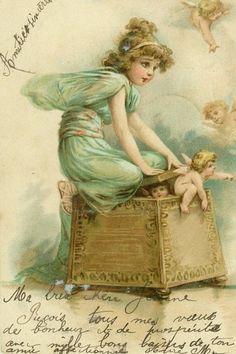 Rare Brundage Postcard ~ Fairy tries to keep Cherubs trapped in basket. Decoupage Vintage, Vintage Paper, Look Vintage, Vintage Prints, Vintage Images, Vintage Pictures, Vintage Labels, Vintage Ephemera, Vintage Postcards