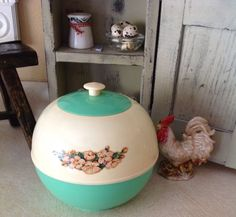 BLUE/GREEN & CREAM 1950's Burrite Plastic COOKIE JAR or CANISTERS! Great Shape!
