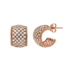 Rose Gold Plated Silver Micro Pave Cubic Zirconia J-Hoop Post Earrings Amazon Curated Collection. $40.00. Just the right amount of elegance to enhance that special outfit. Handset micro pave cubic zirconia add the perfect amount of sparkle. Made in Thailand. Available in silver, gold and rose. Save 60% Off!