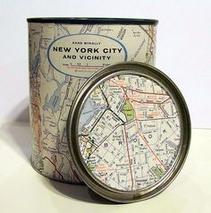 Decoupage Map Paint Can