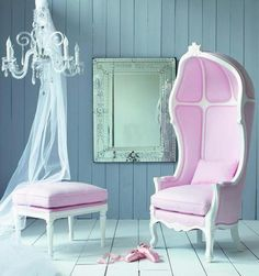 Pink Chair and Ottoman, perfect for my little princess! Kids Armchair, Chair And Ottoman, Chair Cushions, Pink Home Decor, French Chairs, Piece A Vivre, Pink Houses, Deco Design, Take A Seat