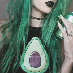 Long green dyed hairstyle
