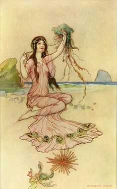 """""""Meeting the jellyfish"""", illustration by Warwick GOBLE (1862-1943) from The Book…"""