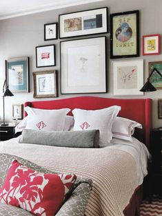Bunny Turner's bedroom - Red headboard, red patterned pillows and embroidered pillows - against gray walls